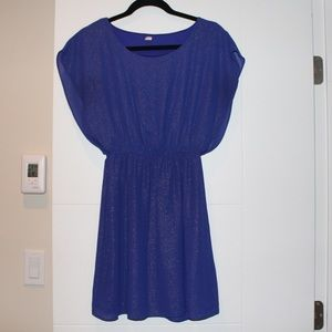 Short blue dress with hint of sparkle